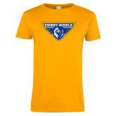 Ladies Gold T Shirt-Athletic Mark, Custom Tee w/ Name and #