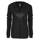 ENZA Ladies Black Light Weight Fleece Full Zip Hoodie-Primary Mark Graphite Soft Glitter