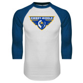 White/Royal Raglan Baseball T Shirt-Athletic Mark
