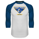 White/Royal Raglan Baseball T Shirt-Athletic Mark - Arizona Distressed
