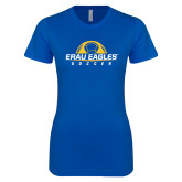 Next Level Ladies SoftStyle Junior Fitted Royal Tee-Soccer Half Ball