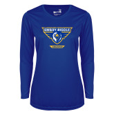 Ladies Syntrel Performance Royal Longsleeve Shirt-Athletic Mark - Arizona Distressed