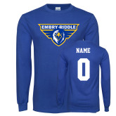 Royal Long Sleeve T Shirt-Athletic Mark, Custom Tee w/ Name and #