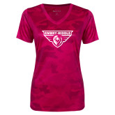 Ladies Pink Raspberry Camohex Performance Tee-Athletic Mark