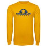 Gold Long Sleeve T Shirt-Soccer Half Ball
