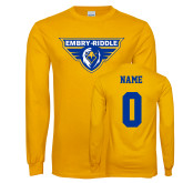 Gold Long Sleeve T Shirt-Athletic Mark, Custom Tee w/ Name and #