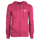 ENZA Ladies Fuchsia Fleece Full Zip Hoodie-Athletic Mark