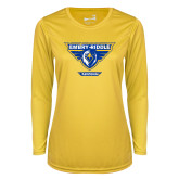 Ladies Syntrel Performance Gold Longsleeve Shirt-Athletic Mark - Arizona Distressed