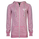 ENZA Ladies Hot Pink Marled Full Zip Hoodie-Athletic Mark