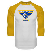 White/Gold Raglan Baseball T Shirt-Athletic Mark - Arizona