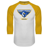 White/Gold Raglan Baseball T Shirt-Athletic Mark - Arizona Distressed