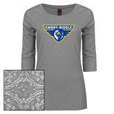 Ladies Grey Heather Lace 3/4 Sleeve Tee-Athletic Mark