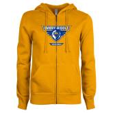 ENZA Ladies Gold Fleece Full Zip Hoodie-Athletic Mark - Arizona Distressed