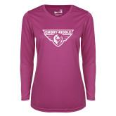 Ladies Syntrel Performance Raspberry Longsleeve Shirt-Athletic Mark