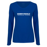 Ladies Royal Long Sleeve V Neck T Shirt-University Mark