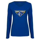 Ladies Royal Long Sleeve V Neck T Shirt-Athletic Mark