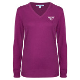 Ladies Deep Berry V Neck Sweater-Athletic Mark