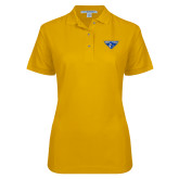 Ladies Easycare Gold Pique Polo-Athletic Mark