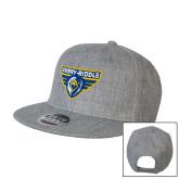 Heather Grey Wool Blend Flat Bill Snapback Hat-Athletic Mark