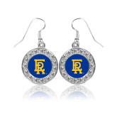 Crystal Studded Round Pendant Silver Dangle Earrings-ER