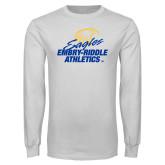 White Long Sleeve T Shirt-Embry Riddle Athletics