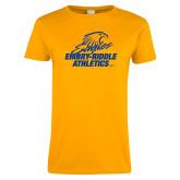 Ladies Gold T Shirt-Embry Riddle Athletics