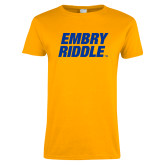 Ladies Gold T Shirt-Embry Riddle Stacked