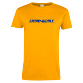 Ladies Gold T Shirt-Embry Riddle Flat