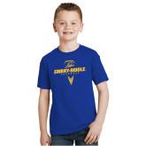 Youth Royal T Shirt-Lacrosse Geometric