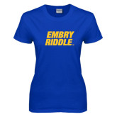 Ladies Royal T-Shirt-Embry Riddle Stacked