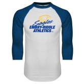 White/Royal Raglan Baseball T Shirt-Embry Riddle Athletics