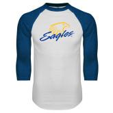 White/Royal Raglan Baseball T Shirt-Eagles