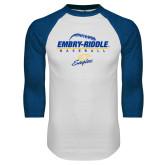 White/Royal Raglan Baseball T Shirt-Baseball Threads