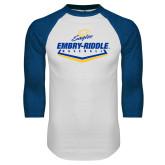 White/Royal Raglan Baseball T Shirt-Baseball Plate