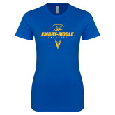 Next Level Ladies SoftStyle Junior Fitted Royal Tee-Lacrosse Geometric