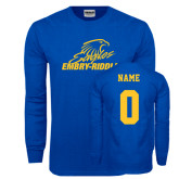 Royal Long Sleeve T Shirt-Primary Mark, Custom Tee w/ Name and #