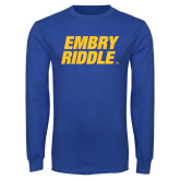 Royal Long Sleeve T Shirt-Embry Riddle Stacked