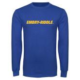 Royal Long Sleeve T Shirt-Embry Riddle Flat