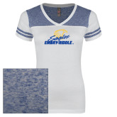Ladies White/Heathered Deep Royal Juniors Varsity V Neck Tee-Primary Mark