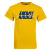 Gold T Shirt-Embry Riddle Stacked