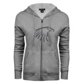 ENZA Ladies Grey Fleece Full Zip Hoodie-Eagle Head Graphite Soft Glitter