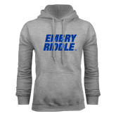 Grey Fleece Hoodie-Embry Riddle Stacked