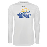 Under Armour White Long Sleeve Tech Tee-Embry Riddle Athletics