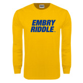 Gold Long Sleeve T Shirt-Embry Riddle Stacked