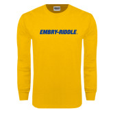 Gold Long Sleeve T Shirt-Embry Riddle Flat