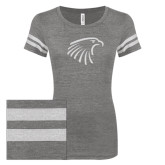 ENZA Ladies Dark Heather/White Vintage Triblend Football Tee-Eagle Head White Soft Glitter