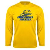 Performance Gold Longsleeve Shirt-Embry Riddle Athletics