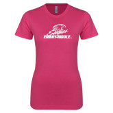 Ladies SoftStyle Junior Fitted Fuchsia Tee-Primary Mark