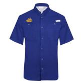Columbia Tamiami Performance Royal Short Sleeve Shirt-Embry Riddle Athletics