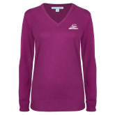 Ladies Deep Berry V Neck Sweater-Primary Mark